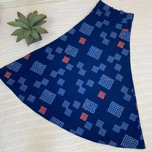 Lularoe blue and coral geometric print maxi skirt